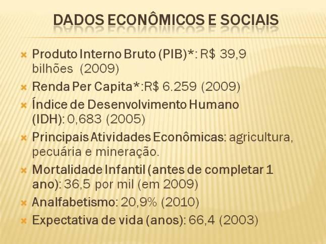 Dados econômicos e sociais